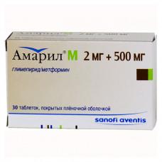 Амарил М табл. п/о пленочной 2 мг+500 мг №30, Санофи-Авентис/Хэндок Фармасьютикалс Ко.Лтд